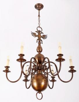 Six Light Chandelier - patinated metal - 1950