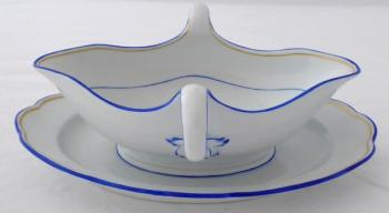 Sauce bowl, gold and blue line - Meissen
