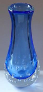 Large crystal vase, blue glass, air bubbles-Vladim