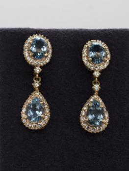 Gold Earrings with Brilliants - gold, brilliant cut diamond