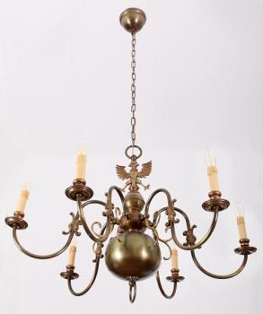 Six Light Chandelier - patinated brass - 1980