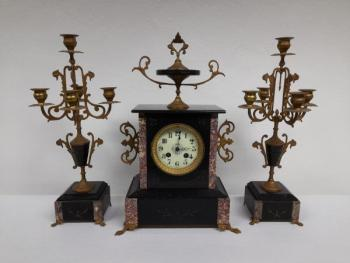 Clock with Pair of Matching Candelabra - 1880