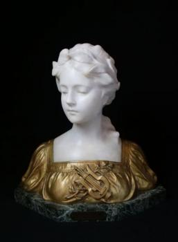 Bust of Woman - alabaster, patinated metal - 1890