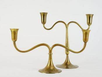 Pair of Candelabra - brass - Karl Hagenauer - 1935