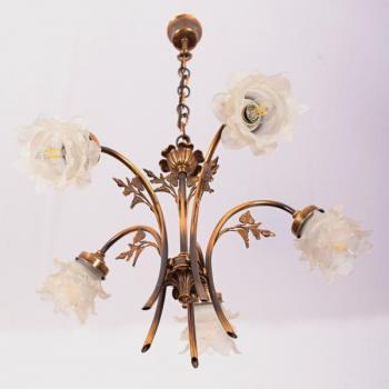 Five Light Chandelier - patinated brass, milk glass - 1980