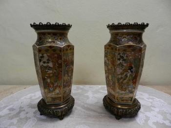 Pair of Porcelain Vases - metal, porcelain - 1880