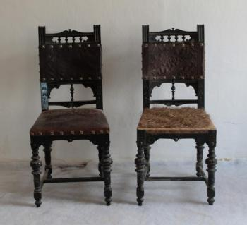 Pair of Chairs - solid beech, leather - 1881