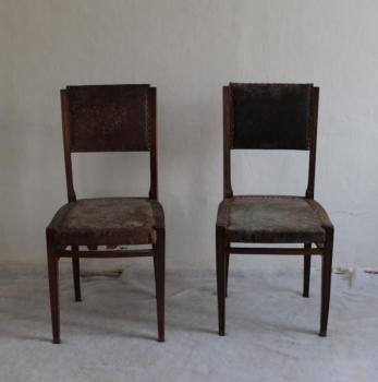 Chairs - brass, solid walnut wood - 1910