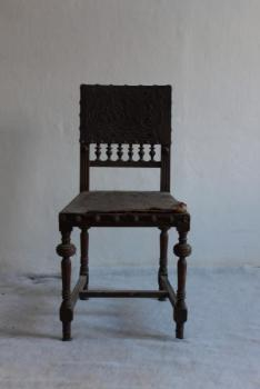 Chair - solid beech, leather - 1880