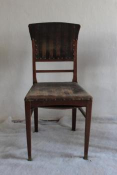 Chairs - solid oak, brass - 1910