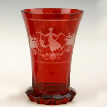 A glass red overlayed