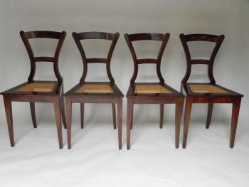 Four Chairs - veneer, solid walnut wood - 1840