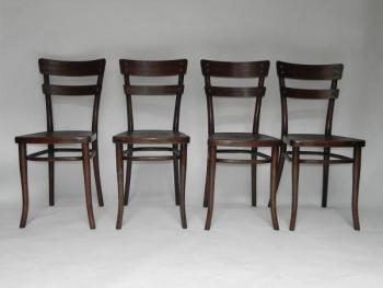 Four Chairs - bent wood - Thonet Austria - 1915