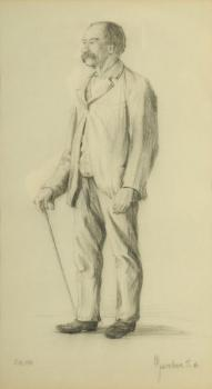 A standing man with a stick