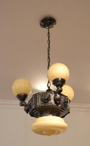 Three Light Chandelier - patinated brass, opal glass - 1910