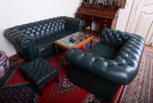 Sofa Set - solid wood, leather - Wade Chesterfield - 1980