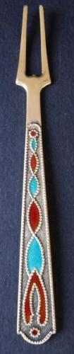 Small silver gilded fork, with enamel