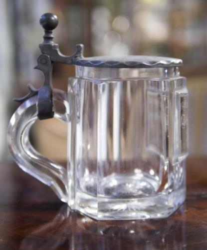 Pint Mug - tin, cut glass - 1900