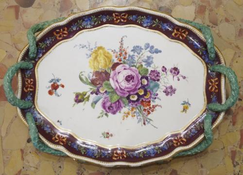 Porcelain oval bowl, gilded, decorated with cobalt and painted flowers, Meissen 1880